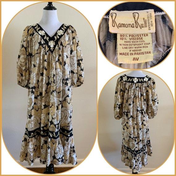 90s RAMONA RULL Dress Metallic MIRRORED Boho Hippie Festival Gypsy Caftan Mumu House Dress Lounger Retro Vintage Prairie Peasant Cottage