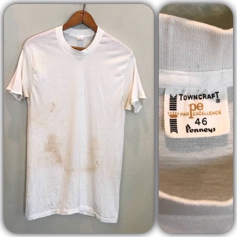 75d0904ca Vintage 60s Penneys Towncraft Paper Thin Blank White T Shirt | Etsy