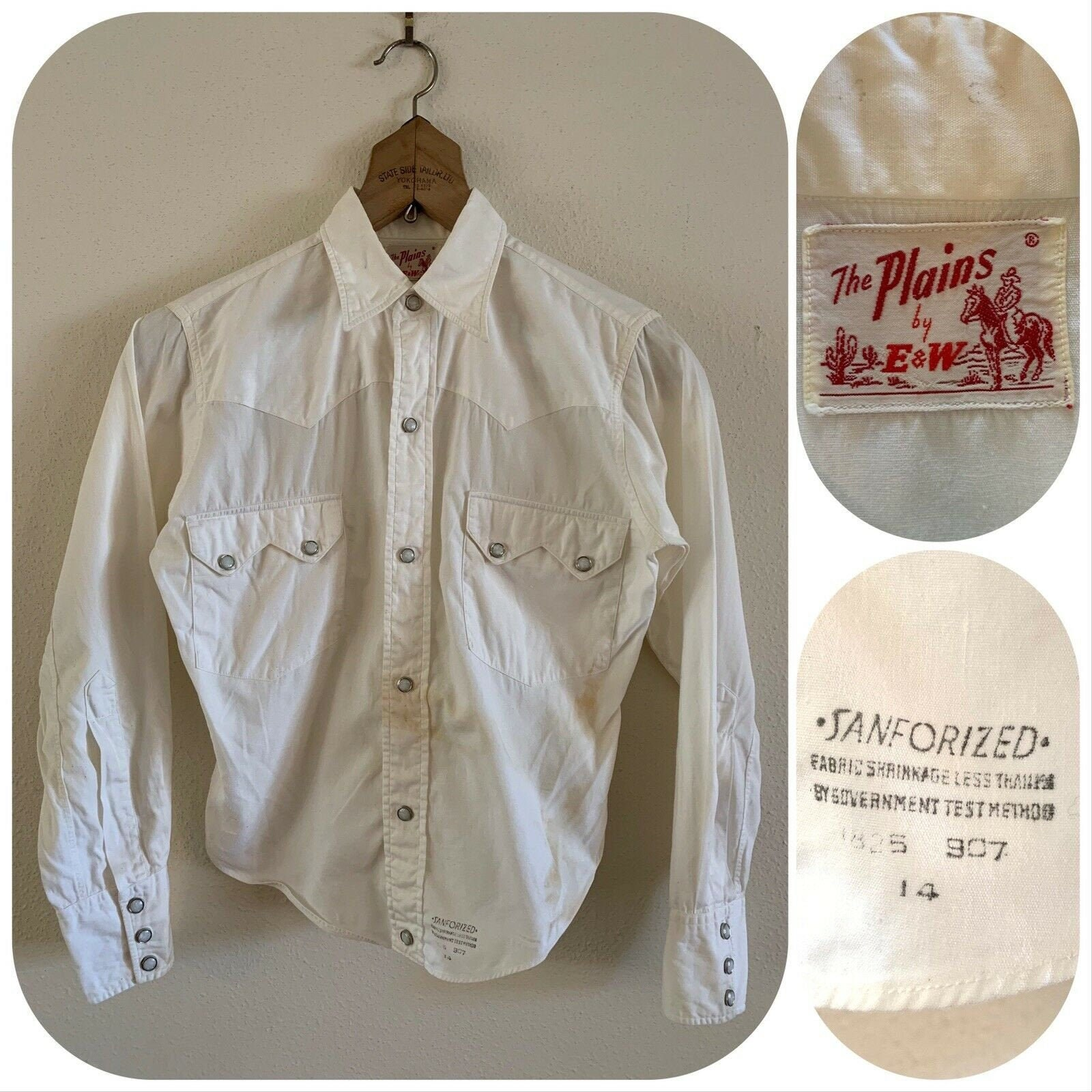 1950s Mens Hats | 50s Vintage Men's Hats 50S The Plains By Ew Womens Sawtooth Pearl Snap Western Shirt Rodeo Ranch Cowgirl Made in Usa Rockabilly Sanforized Chore Equestrian $65.00 AT vintagedancer.com