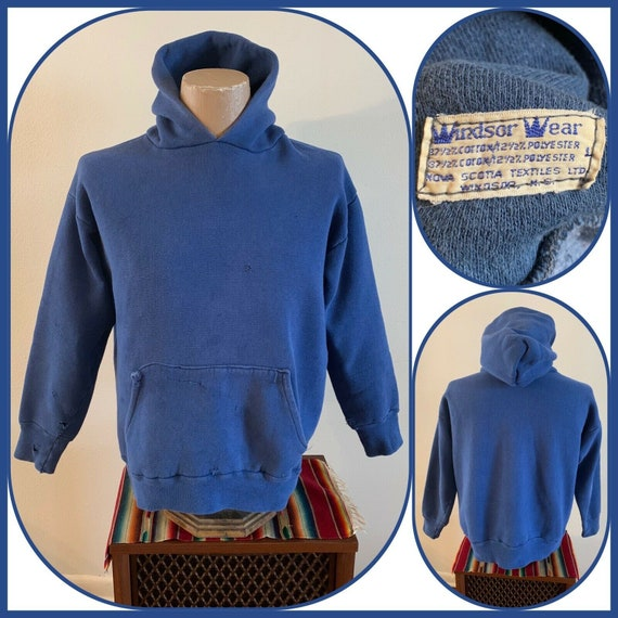 60s WINDSOR WEAR Hoodie Sweatshirt Sun Faded Indig