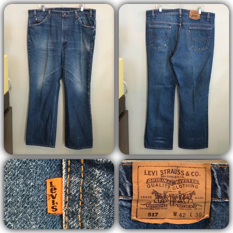c5b619fff53 Vintage 80s Levis 517 Denim Jeans 42 X 30 Orange Tab Boot Cut