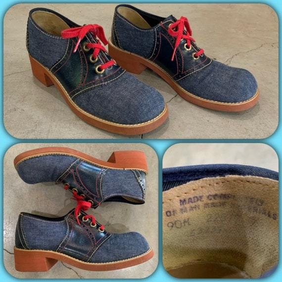 70s Carousel Denim Leather Oxford Lace-Up Shoes Sz