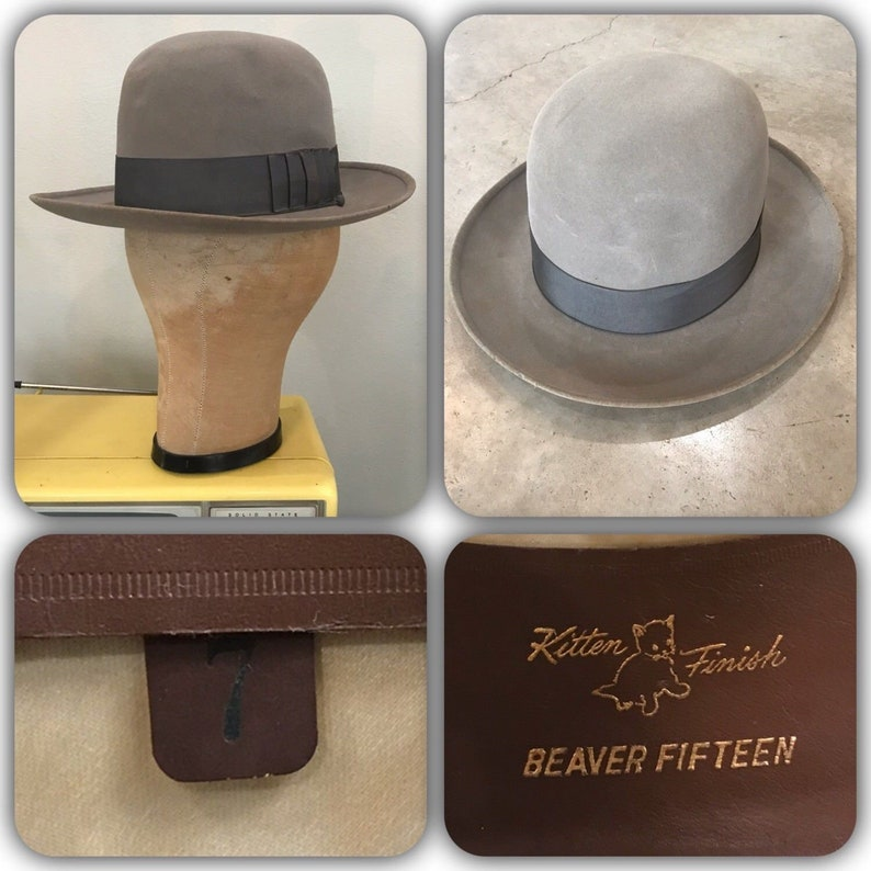 b00c324520686 Vintage 50s Resistol 15X Beaver Fedora Hat Kitten Finish Self