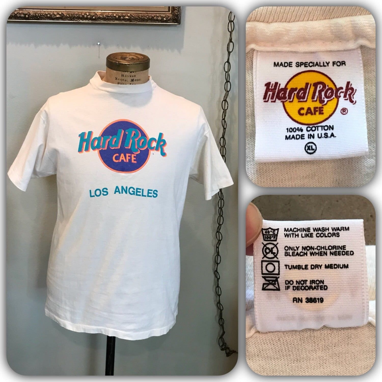 Neon Hard Rock Shirt Vintage 90s Hard Rock Cafe Los Angeles T Etsy
