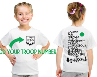 Girl Scout CUSTOM Troop # Girl Scout Law Design Front and Back