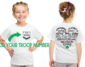 Girl Scout CUSTOM Troop # Girl Scout Law HEART Design Front and Back