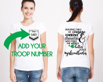 Girl Scout CUSTOM Troop # Girl Scout LEADER Design Front and Back