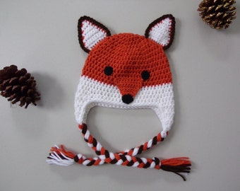 Moxie,Roxy Red Forest Fox.Crochet fox hat.Made to Order from 6 month to Adult Sizes.