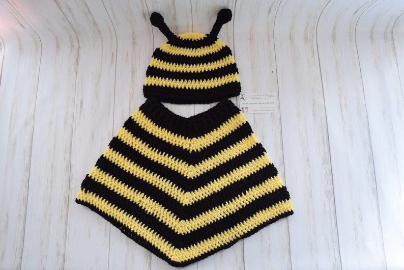 Bee Hat and Poncho Set  Toddler size 12 to 24 months image 0