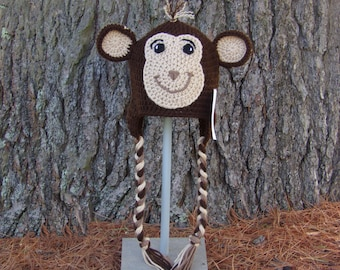 Monkey Hat- Animal Hat- Jungle Animal Hat- Baby Hat - Toddler Hat - Child Hat - Adult Hat - Kids Hats - Crochet Hat - Photo Prop
