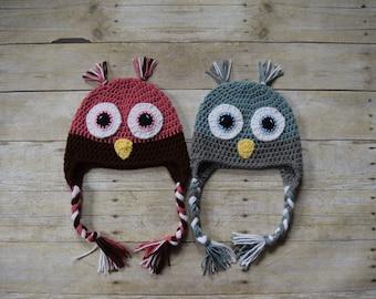 Owl Hat - Animal Hats - Crochet Owl Hat - Crochet Hat-  Kids Crochet Hats - Bird Hat