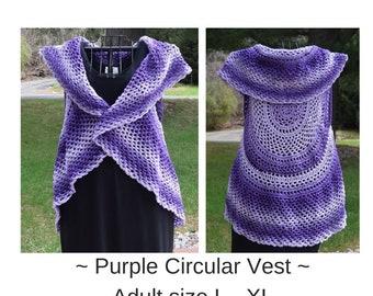 Purple Circular Vest ~ Adult size L- XL  ~ Ready to Ship