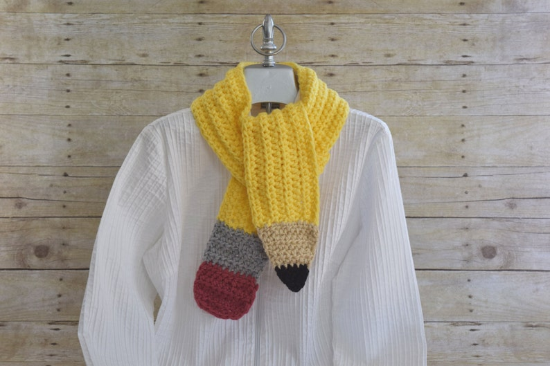 Pencil Scarf  Teacher Gift   Crochet Scarf  Neck Warmer  image 0
