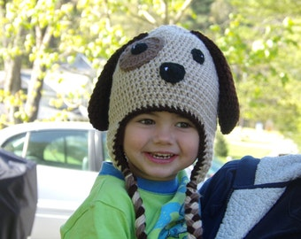 Puppy Hat - Dog Hat - Animal Hat- Crochet Puppy Hat - Baby Puppy Hat - Toddler Puppy Hat - Child Puppy Hat - Crochet Hat