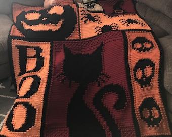 HALLOWEEN pattern for crocheted blanket