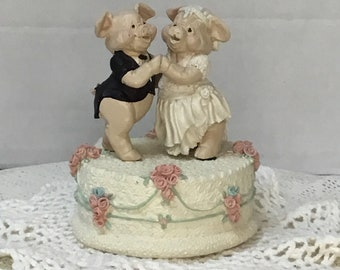 Vintage Enesco Music  Box   There is Love    Bride and Groom Pigs