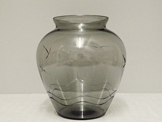 Smuth Smoked Glass Vase Seagull Decor 50s Etsy