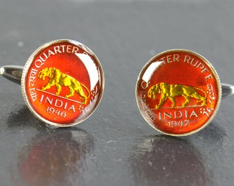Enamelled Cufflinks Zambia-Stainless steel leg Coin Collector Gifts,Dad Coin Gift,Upcycled,mens gift accessories jewelry