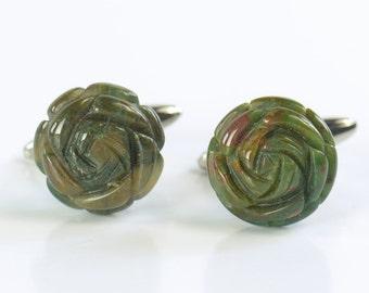 Green Unakite Gemstone Flower Cufflinks - Mens Gift - Accessories -Gift
