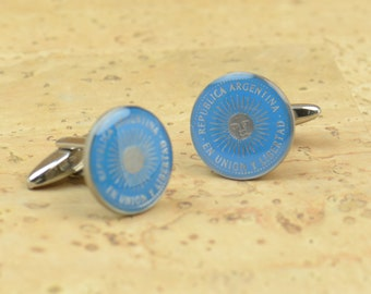 Argentina coin 10 pesos .Big Size Coin Coin Collector Gifts,Dad Coin Gift,Upcycled,mens gift accessories jewelry Enamel  Cufflinks
