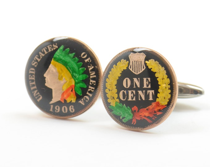 Jersey Cufflinks Shield enamel cut coins Coin Collector Gifts,Dad Coin Gift,Upcycled,mens gift accessories jewelry