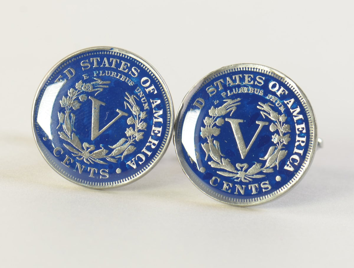 US Cufflinks Custom Personalized-5 cents old coin United