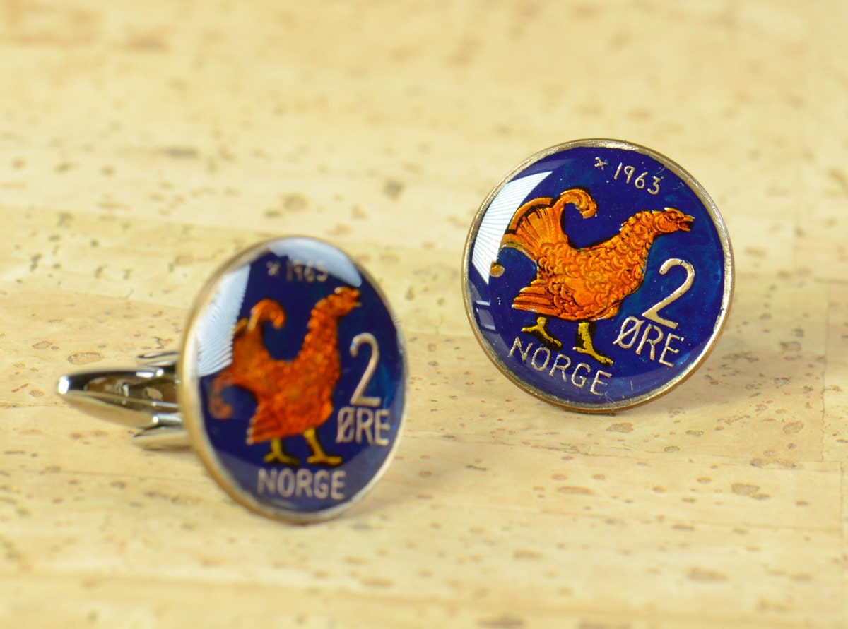 Cufflinks Norway enamel Coin Coin Collector Gifts,Dad Coin Gift,Upcycled,mens gift accessories jewelry
