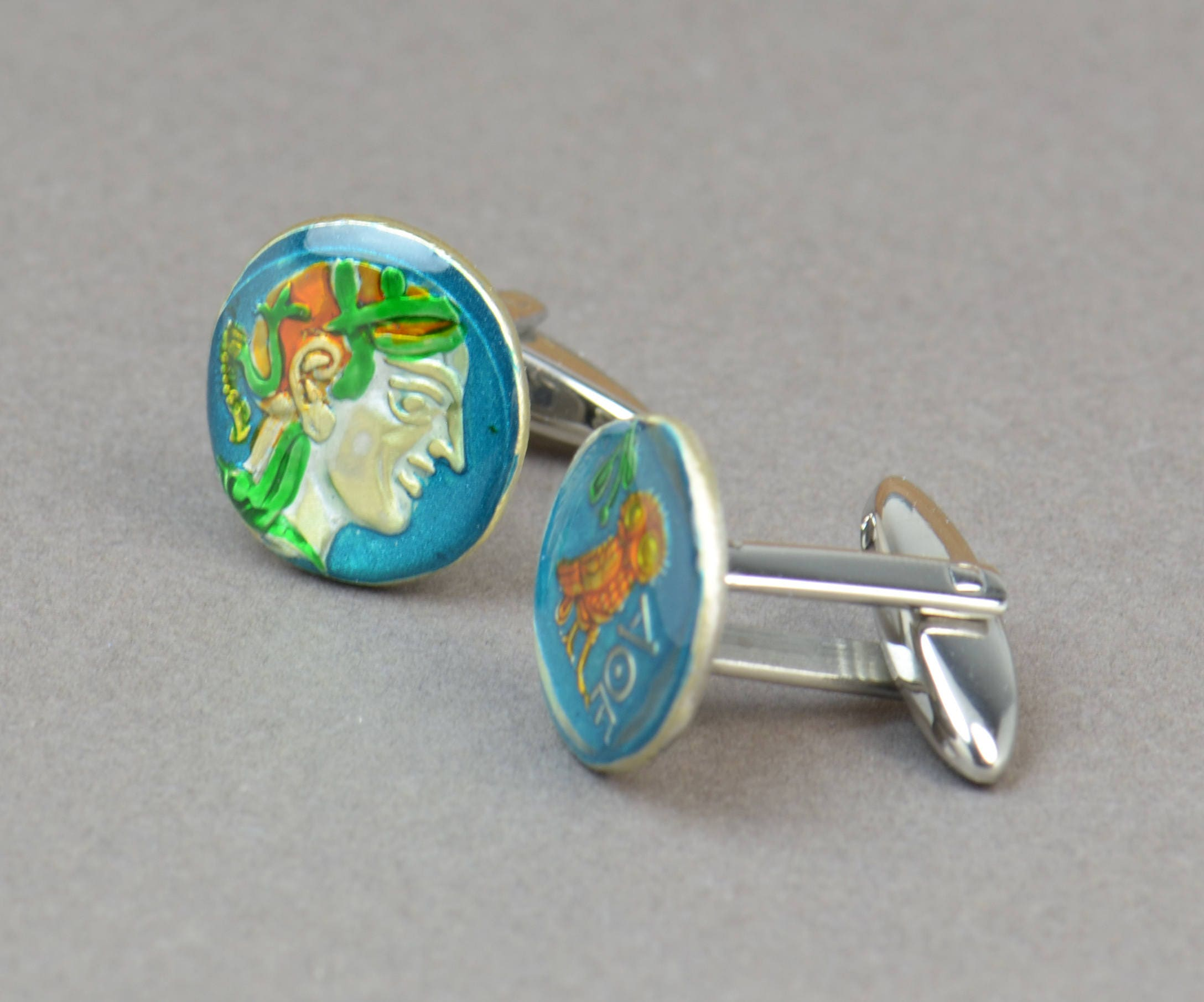 Greece Athens Drachm 5th century Cufflinks.Greek Drachma.Cuff links accessories mens gift jewelry