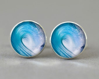 Wave Surf  cufflinks sports cuff links gift idea accessories men women