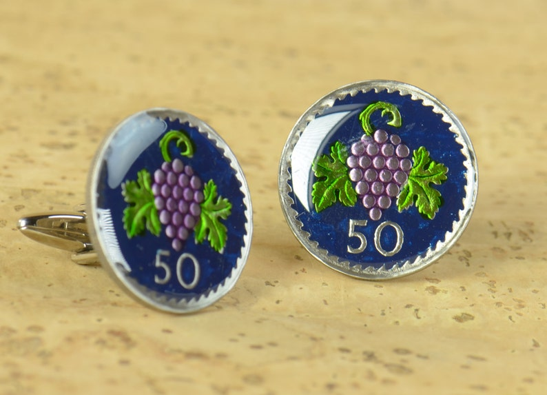 Cufflinks Cyprus enamel Grapes Wine Coin.Big Size Coin Collector Gifts,Dad Coin Gift,Upcycled,mens gift accessories jewelry