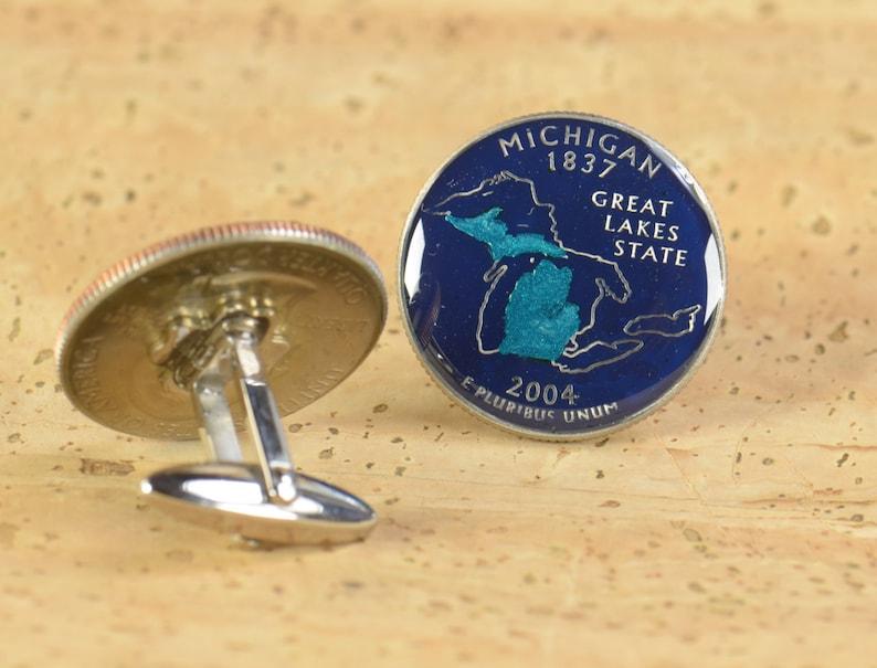 Enamelled cuff links.Stainless steel leg.Coin cufflinks.USA Cufflinks Michigan Quarter
