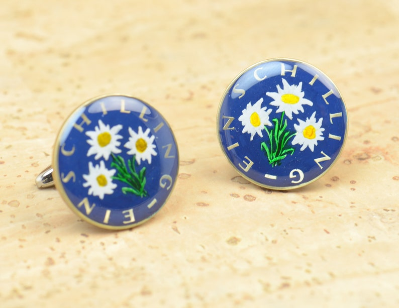 1 Schilling Edelweiss Coin Collector Gifts,Dad Coin Gift,Upcycled,mens gift accessories jewelry Austria Coin Enamel  Cufflinks
