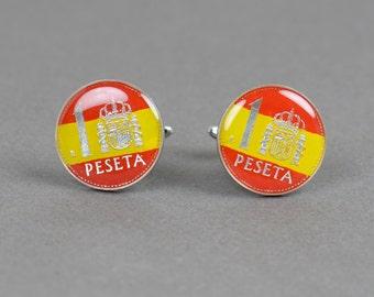 Cufflinks coin peseta spanish flag Spain
