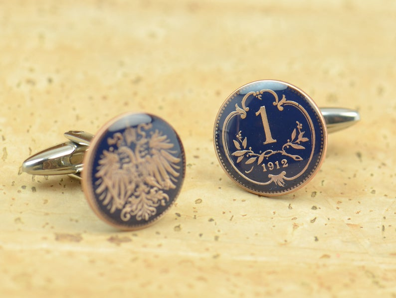 Enamel  Cufflinks Austria Coin Coin Collector Gifts,Dad Coin Gift,Upcycled,mens gift accessories jewelry