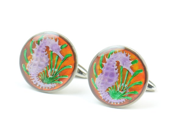 Cufflinks Singapore enamel Coin-Sea horse Coin Collector Gifts,Dad Coin Gift,Upcycled,mens gift accessories jewelry