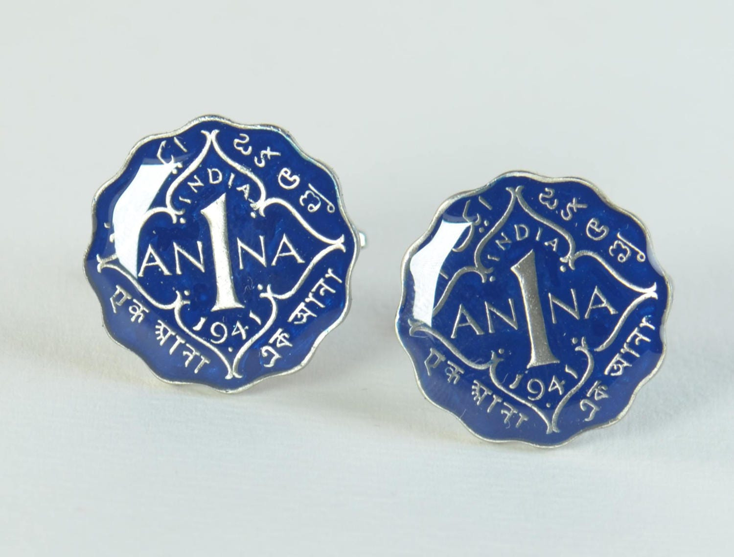 Enamel  Cufflinks-India Coin Coin Collector Gifts,Dad Coin Gift,Upcycled,mens gift accessories jewelry