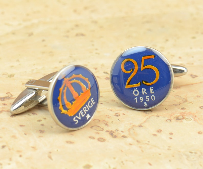 Cufflinks Sweden Sterling silver enamel Coin Coin Collector Gifts,Dad Coin Gift,Upcycled,mens gift accessories jewelry
