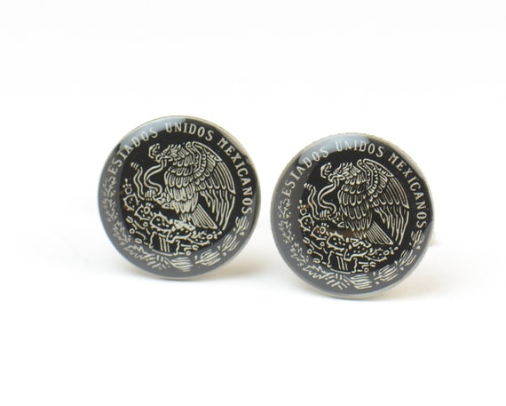 Men Cufflinks Mexican Coin Mexico.Big Size Coin Coin Collector Gifts,Dad Coin Gift,Upcycled,mens gift accessories jewelry