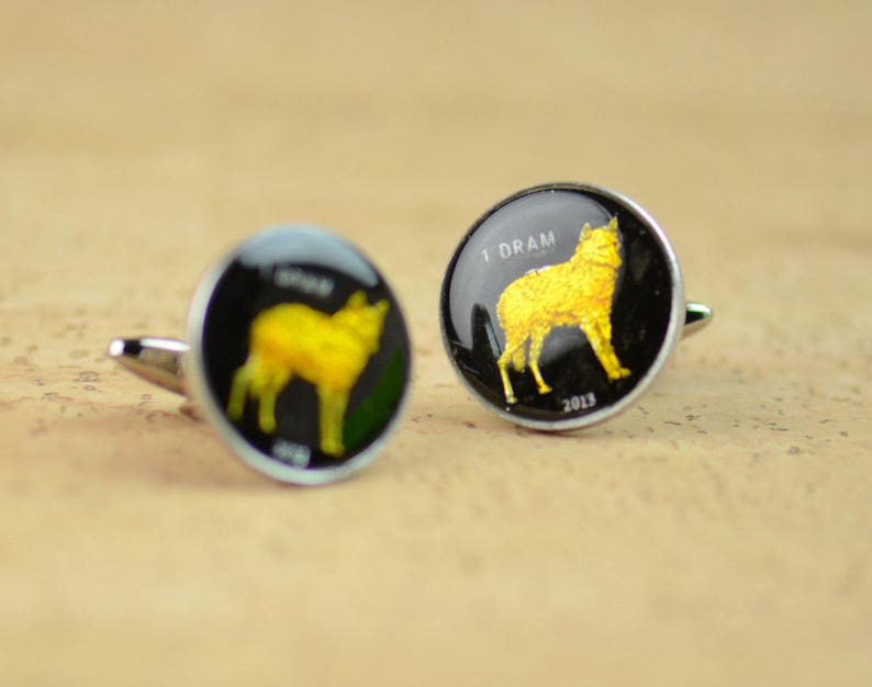 Cufflinks Coins Nagorno Karabakh Wolf Coin Collector Gifts,Dad Coin Gift,Upcycled,mens gift accessories jewelry