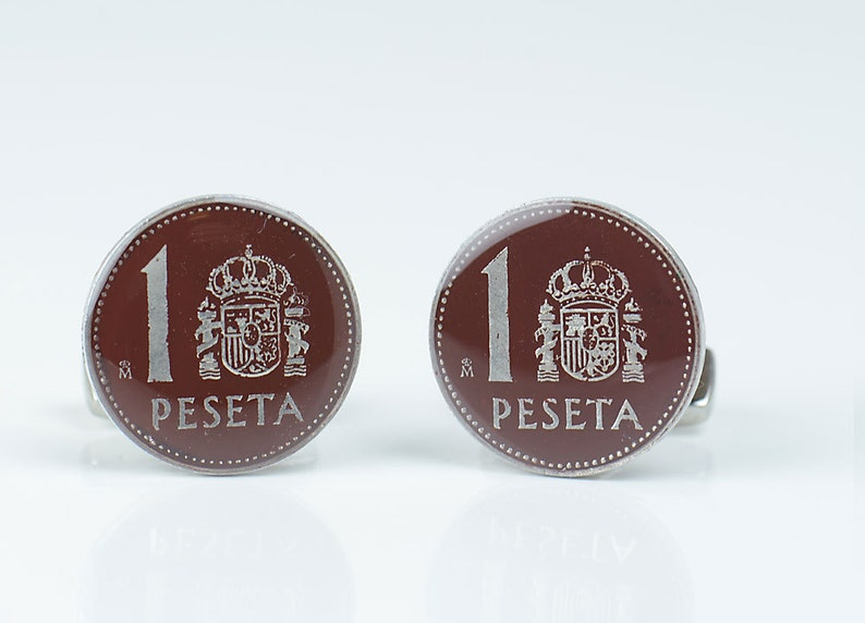Cufflinks coin peseta Spain Coin Collector Gifts,Dad Coin Gift,Upcycled,mens gift accessories jewelry