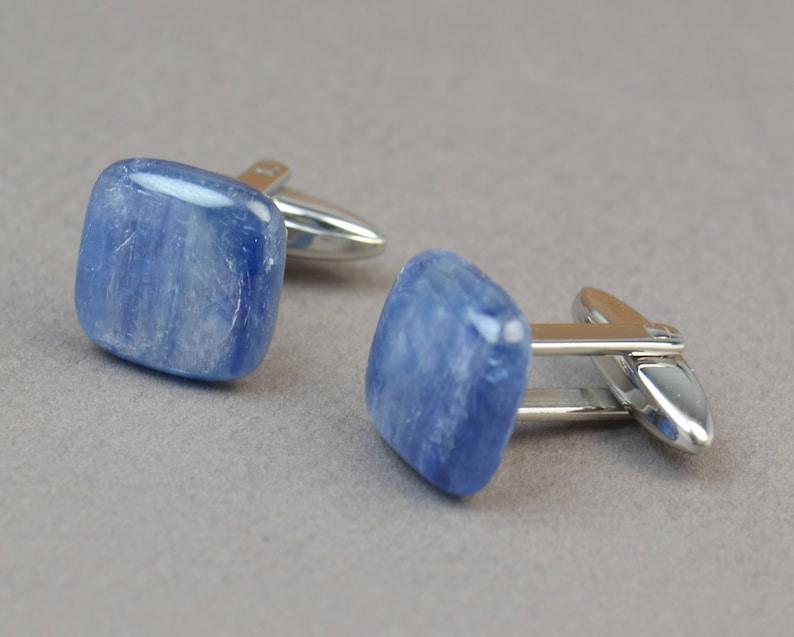 Kyanite Gemstone Cufflinks-Mens gifts-Men accessories-Men gift