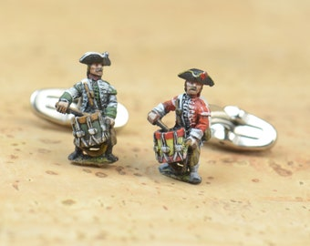 Tin Soldier metal Soldier French Army Cufflinks.Artisan hand painted pieces.Stainless steel leg.Mens Gift.France