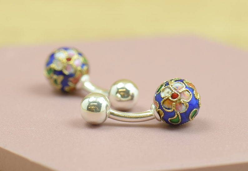 Japanese Cufflinks made with a cloisonne enamel piece and sterling silver prong.Men or women accessories