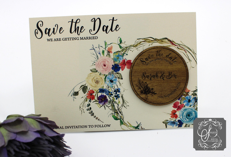 Floral Save the Date Fridge Magnet