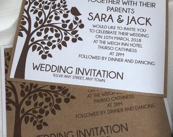 Tree Love Bird Wedding Invitations