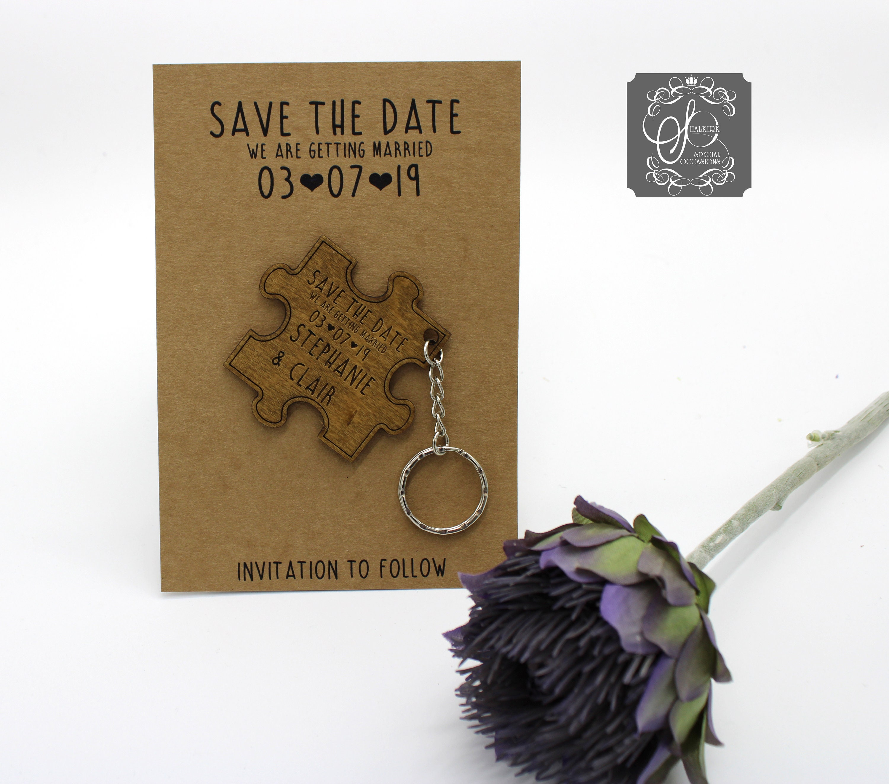 Save the Date Jigsaw Keyring - Brown backing card