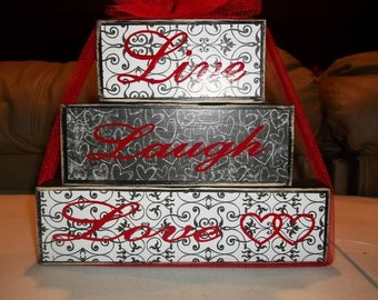 Live Laugh Love wood block set primitive home decor house warming gift beautiful saying birthday wedding