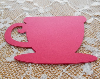 50 Tea Cup Paper Die Cut In Your Choice Of Colors   Tea Party,Birthday,Club Meeting,Table Marker,Place Marker,Wishing Tree,Favor,yellow