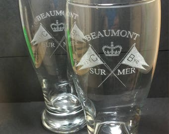 Custom Laser Engraved Pilsner Glass from your design or logo, club,award,school,sports,wedding,anniversary