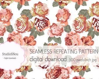 Roses II seamless pattern digital download